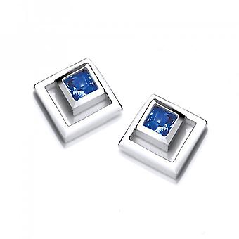 Cavendish French Silver and Sapphire CZ Square in Square Earrings