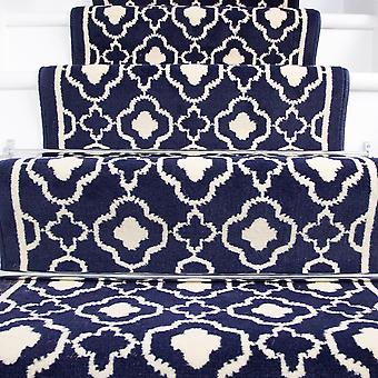 70cm Width - Contemporary Navy Blue Trellis Stair Carpet