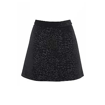 Topshop Black Animal Velvet A-line Mini Skirt SK165-6