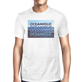 Oceanholic Mens wit Graphic Tee lichtgewicht tropische ontwerp Tee