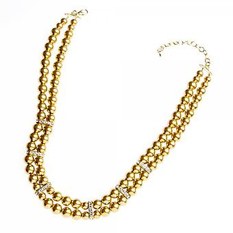 Camille Gold Bead Double Strand Diamante Necklace