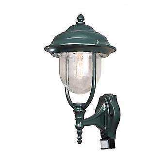 Konstsmide Parma Upturned Wall Lantern, Green With PIR