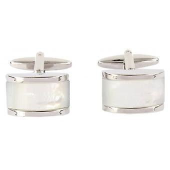 David Van Hagen Mother of Pearl Domed Rectangle Cufflinks - Silver/Cream