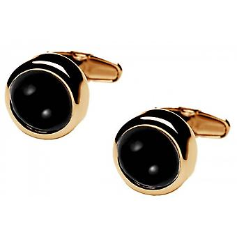 denisonboston Polo Onyx Centre Cufflinks - Gold/Black