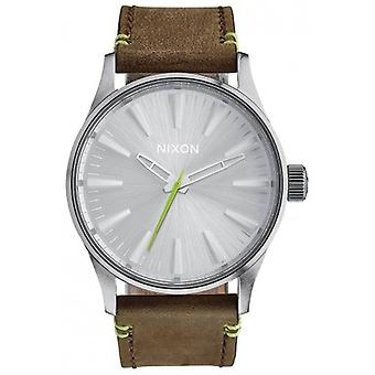 Nixon The Sentry 38 Leather Watch - Brown/Lime