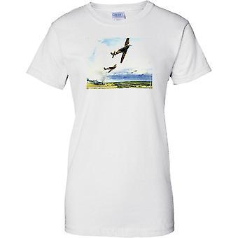 Spitfire volando sobre ME109 caídos - WW2 - señoras T Shirt