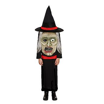 Children's Halloween Jumbo Scary Witch Face Fancy Dress Costume