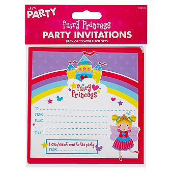 Pack Of 20 Children's Fairy Princess Birthday Party Invitations With Envelopes