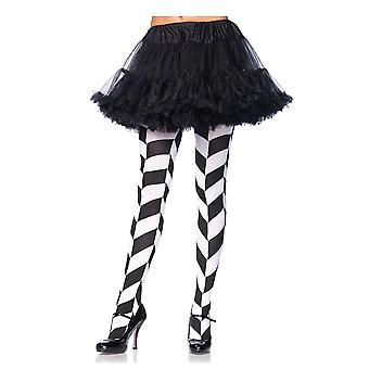 Opaque Black White Chevron Joker Clown Women Costume Thigh Highs Pantyhose