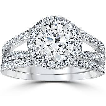 1 3 / 4ct Halo diamant bague de fiançailles Splt tige Ring Set 14K or blanc