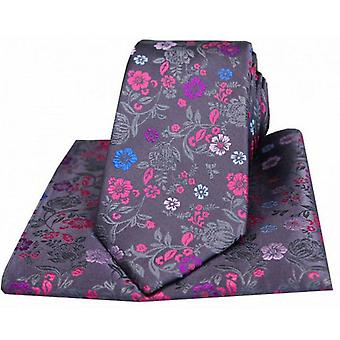 Posh and Dandy Flowers Tie and Pocket Square Set - Grey/Multi-coloured