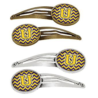 Letter U Chevron Purple and Gold Set of 4 Barrettes Hair Clips