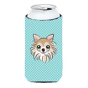 Checkerboard Blue Chihuahua Tall Boy Beverage Insulator Hugger