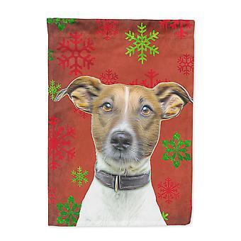 Rot Schneeflocken Urlaub Weihnachten Jack-Russell-Terrier Flagge Leinwandgröße Haus
