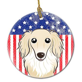 American Flag and Longhair Creme Dachshund Ceramic Ornament