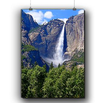 Matte or Glossy Poster with Mountain Waterfall | Wellcoda | *q273