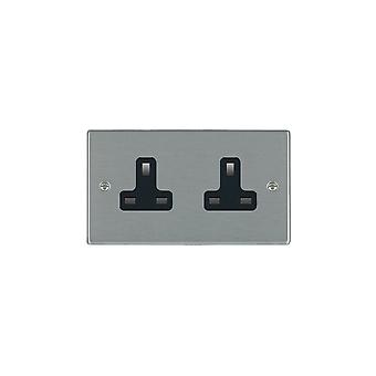 Hamilton Litestat Hartland Satin Stainless 2g 13A Unswitched Socket BL