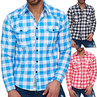 Men's long sleeve shirt Myland checkered polo shirt leisure shirt slim fit casual