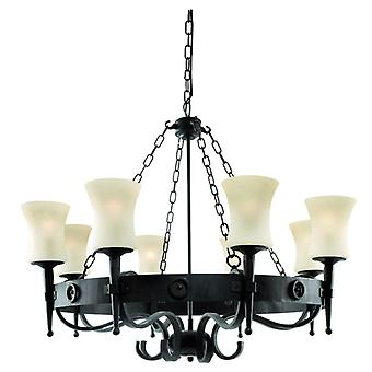 Cartwheel Black And Scavo Glass Eight Light Ceiling Light - Searchlight 0818-8bk