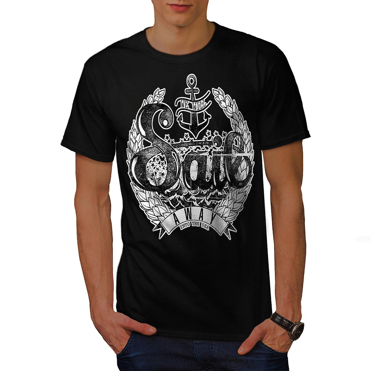 We Will Sail Away Slogan Men Black T-shirt | Wellcoda