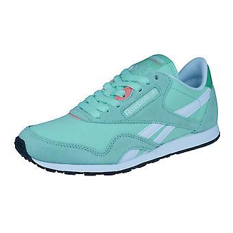 Reebok Classic Nylon Slim HV Womens Trainers / Shoes - Green