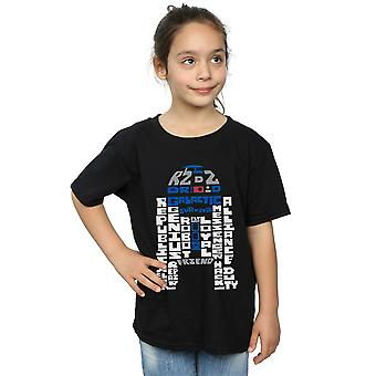 Star Wars Girls R2-D2 Text Head T-Shirt