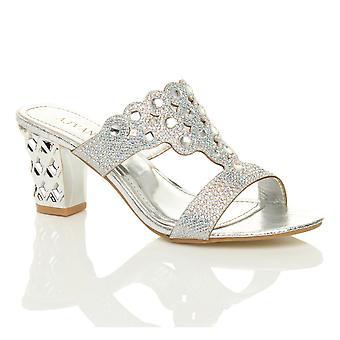 Ajvani dame midten af høj blok hæl prom diamante aften glide på muldyr sandaler