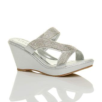Ajvani womens high heel wedge strappy diamante platform mules prom sandals
