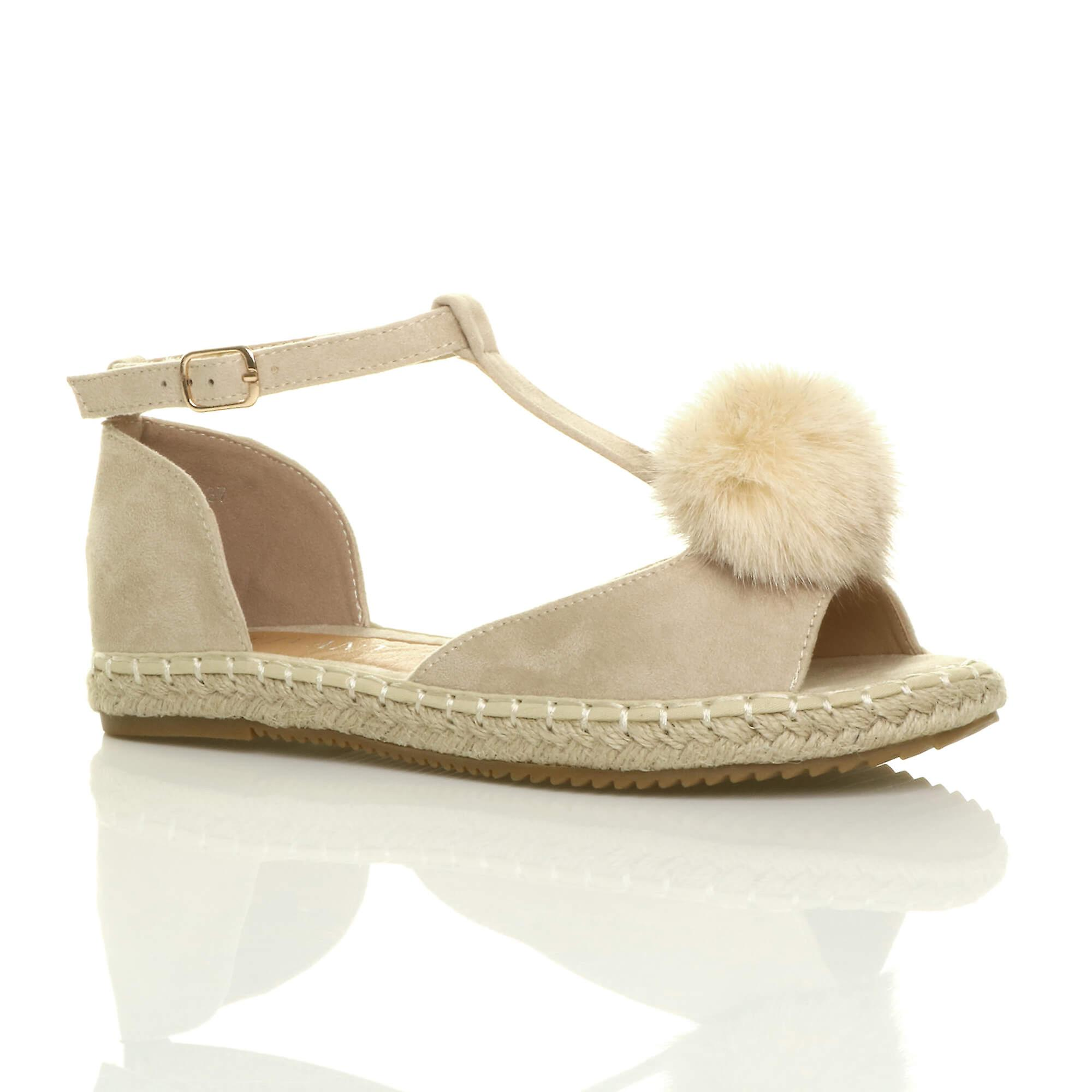 Ajvani womens flat t-bar pom pom buckle peep toe shoes espadrilles sandals