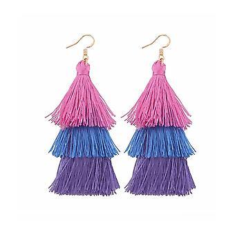 Womens Dangle Layered Pink Purple Tassle Tassel Earrings Dress Jewelry