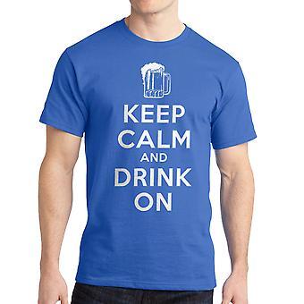 Humor Keep Calm Drink On Men's Royal Blue T-shirt