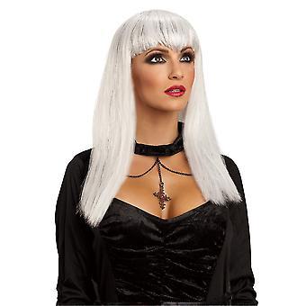 Glitter Vamp Vampiress Vampire White Angel Women Costume Wig
