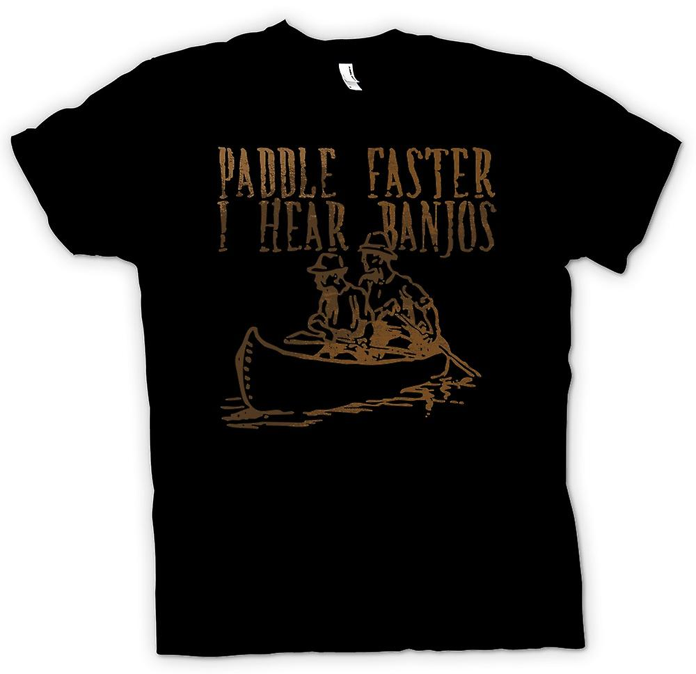 Womens T-shirt - Paddle Faster I Hear Banjos - Funny