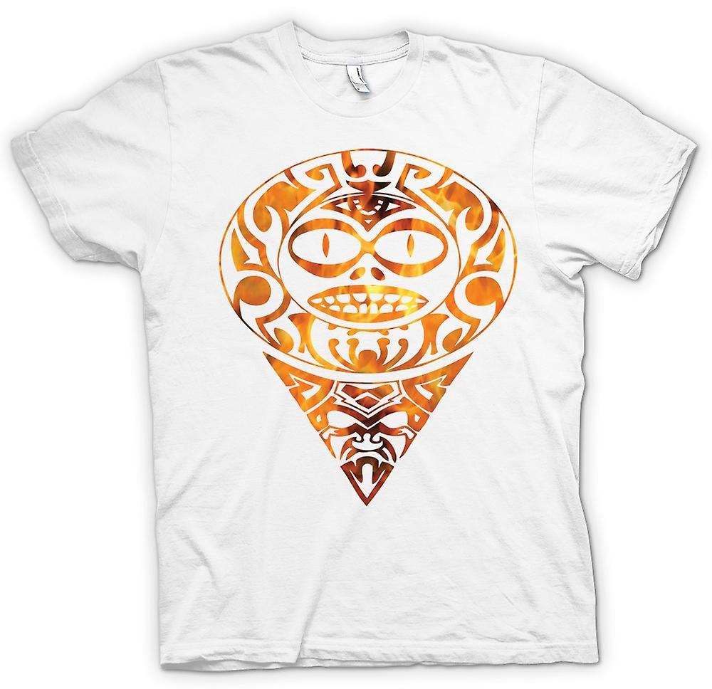 Womens T-shirt - Aztec Tattoo Flames - Tribal