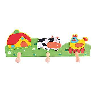 Bigjigs speelgoed kinderen houten jas haak (boerderij) slaapkamer accessoires