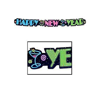 Banner de feliz año nuevo de neón