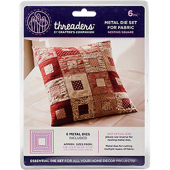 Crafter's Companion Threaders Metal Fabric Nesting Dies 6Pkg-Square