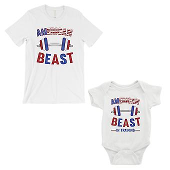 American Beast Training Dad and Baby Matching Outfits White For Dad