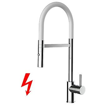 NIEDERDRUCK kitchen faucet chrome high spout swivel and removable white 2 movable shower jets