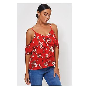 The Fashion Bible Poppy Red Floral Bardot Frill Top