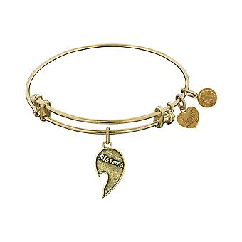 Stipple Finish Brass Right-Half Heart Sisters Angelica Bangle Bracelet, 7.25