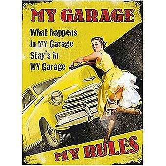 My Garage My Rules Large Metal Sign 400Mm X 300Mm