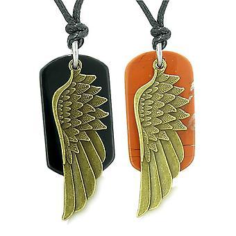 Verge engel vinger beskyttelse krefter kjærlighet par beste venner Agate jaspis justerbar halskjeder