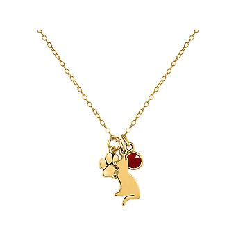 GEMSHINE cat and paw pendant. Ruby gemstone. Solid 925 Silver, gold plated or 45cm necklace. Gift for pet owner, mistress - made in Spain