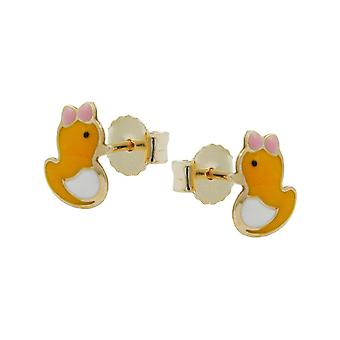Stud duck earrings gold 375 children jewelry plug, little duck, 9 KT GOLD