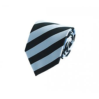 Schlips Krawatte Krawatten Binder 8cm schwarz hellblau gestreift Fabio Farini