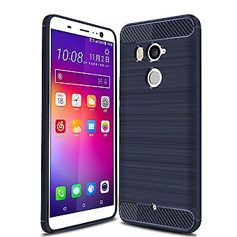 Vida de HTC U11 óptica de fibra de carbono caso TPU escovado azul caixa protetora