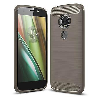 Motorola Moto E5 Play TPU Case Carbon Fiber Optik Brushed Schutz Hülle Grau