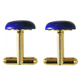 Blue - 19 mm x 12 mm gold plated - lapis lazuli - men - cuff links-