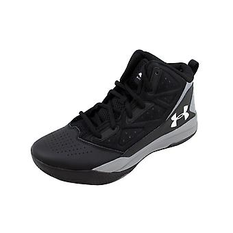 Under Armour BGS Jet Mid Black/Steel-White 1274067-001 Grade-School